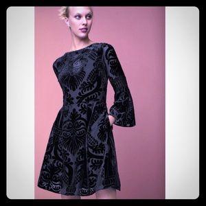 Eliza J Bell Sleeve Fit & Flare Velvet Lace Dress